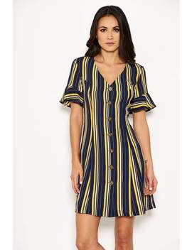 Navy Striped Print Button Up Midi Dress by Ax Paris