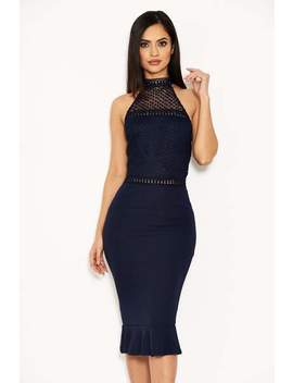 Navy Midi Dress With Crochet Detail by Ax Paris