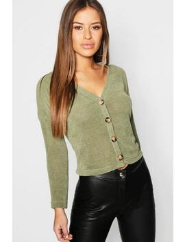Petite Button Front Chenille Cardigan by Boohoo