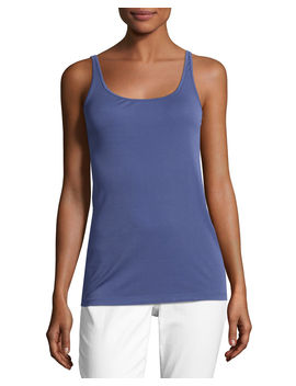 Scoop Neck Stretch Silk Jersey Cami by Eileen Fisher