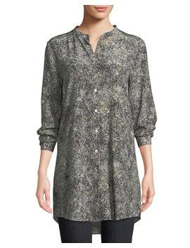 Willow Print Mandarin Collar Long Silk Shirt by Eileen Fisher