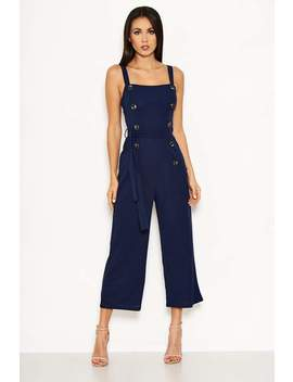 Navy Button Front Detail Jumpsuit by Ax Paris