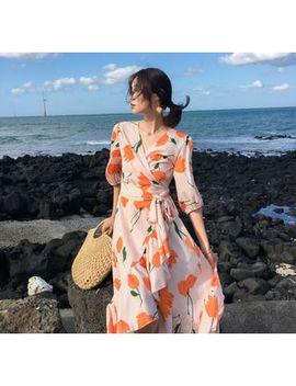 Coromandel   Elbow Sleeve Floral Print Midi Wrap Dress by Coromandel