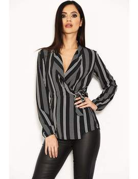 Black Striped Tie Waist Wrap Top by Ax Paris