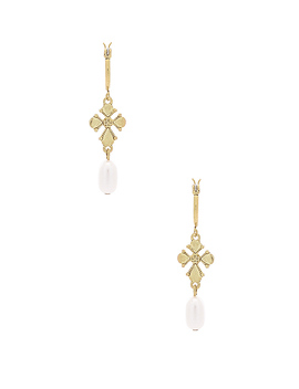 Nouveau Cross With Freshwater Pearl Mini Hoops by Luv Aj