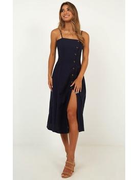 Rain On Me Dress In Navy Linen Look by Showpo Fashion