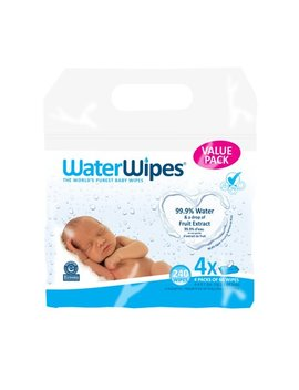 Water Wipes Sensitive Baby Wipes, Unscented, 240 Count (4 Packs Of 60) by Water Wipes