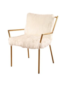 Bonnie Stainless Steel Faux Fur Armchair   White   Abbyson by Abbyson Living