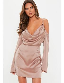 Mauve Satin Cold Shoulder Cowl Mini Dress by Missguided