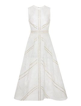 Studded Lace Cotton Blend Midi Dress by Elie Saab