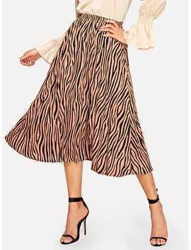 Zebra Pattern Flare Skirt by Shein