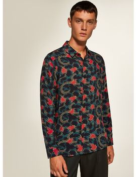 Teal And Red Chain Print Slim Shirt by Topman