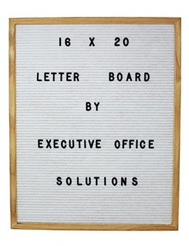 16 X 20 Changeable Letter Board   White Felt With Solid Oak Frame, Wall Mount, Canvas Bag, And 290 Characters   By Executive Office Solutions by Executive Office Solutions
