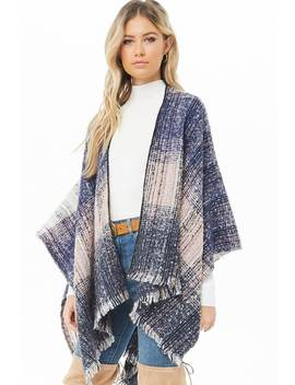 Multicolor Brushed Knit Poncho by Forever 21
