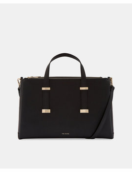 Adjustable Handle Leather Laptop Bag by Ted Baker