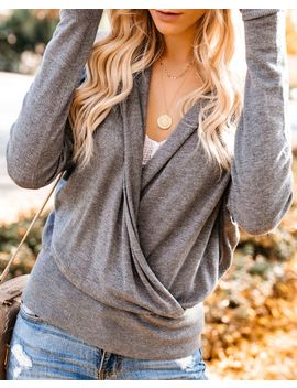 Kahlua Hooded Drape Knit Sweater   Heather Charcoal by Vici