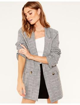 Longline Check Blazer by Glassons