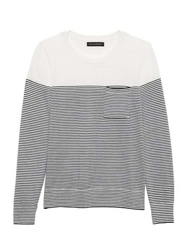 Petite Washable Merino Stripe Pocket Sweater by Banana Repbulic