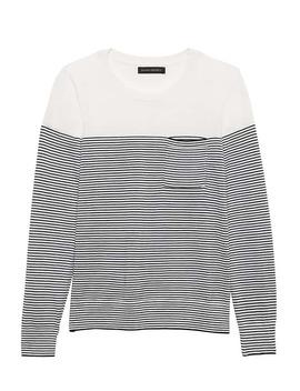 Petite Washable Merino Stripe Pocket Sweater by Banana Repbulic