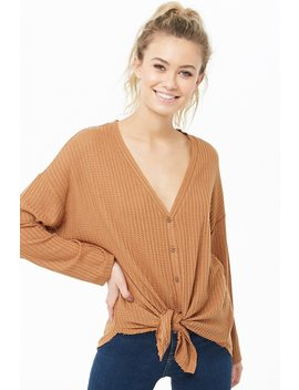 Knotted Button Front Top by Forever 21