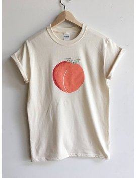 Peach T Shirt, Graphic Tee, Food Shirt, Screen Print Shirt, Clothing Gift, Foodie Gift, Hipster Tee by Etsy