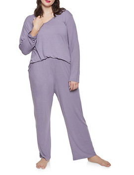 Plus Size Soft Knit Pajama Top And Bottom Set by Rainbow