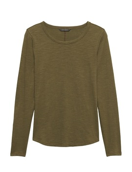 Petite Cotton Modal Long Sleeve T Shirt by Banana Repbulic