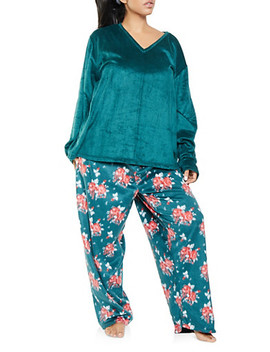 Plus Size Fleece Pajama Top And Bottom Set by Rainbow