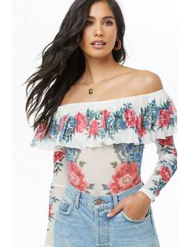 Sheer Floral Off The Shoulder Bodysuit by Forever 21