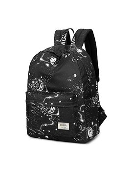 Joymoze Waterproof Cute School Backpack For Boys And Girls Lightweight Chic Prints Bookbag Black by Joymoze