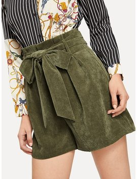 Paperbag Waist Wide Leg Corduroy Short With Belt by Shein