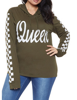 Plus Size Queen Graphic Hooded Top by Rainbow