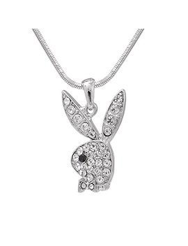 High Gloss Finish Silver Plated Playboy Bunny Charm And Chain by Spinning Daisy
