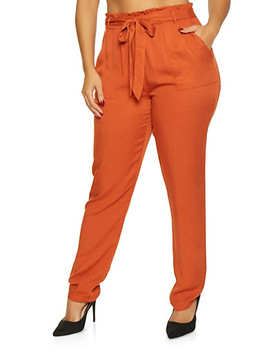 Plus Size Tie Front Paper Bag Waist Pants by Rainbow