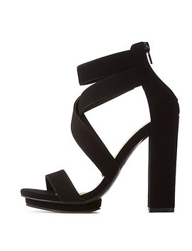 Crisscross Ankle Strap Platform Sandals by Charlotte Russe