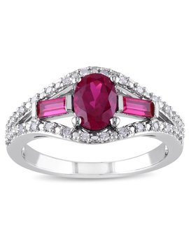 Miadora Silver Created Ruby And 1/10ct Tdw Diamond Ring (H by Miadora