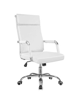 Homall Office Desk Chair Mid Back Computer Chair Leather Executive Adjustable Swivel Task Chair Conference Chair With Armrests (White) by Homall