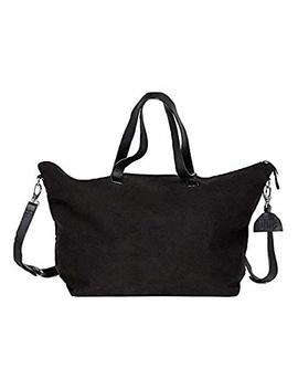 Weekend Bag For Women, Large Weekender Tote Bag, Spacious Black Canvas With Genuine Leather Trim, Perfect Travel Bag by Dene'