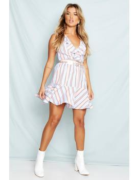 Woven Stripe Frill Plunge Mini Dress by Boohoo