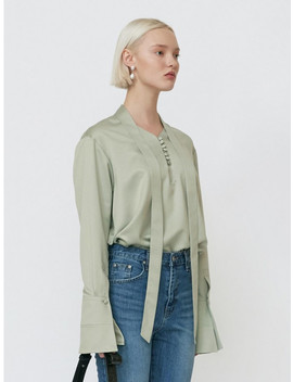 Satin Neck Tie Blouse Jade Green by Gabriel Lee