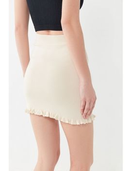 Uo Ribbed Ruffle Trim Mini Skirt by Urban Outfitters