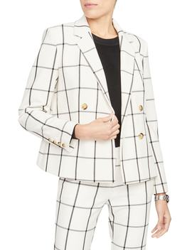Grid Pattern Double Breasted Crop Jacket by Rachel Roy Collection