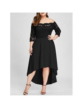 "<P>Plus Size Lace Off Shoulder Flare Dress</P><I Class=""Icon Down Js Tap Up Down""></I> by Dress Lily"