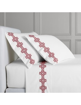 Boreal Embroidered Sheeting, Red by Williams   Sonoma