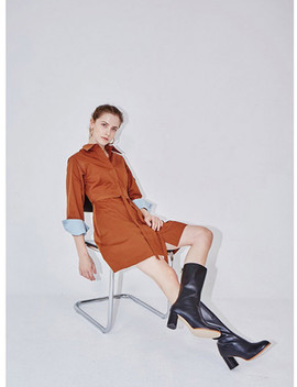 New York Long Sleeve Flared Shirt Dress Short by And You