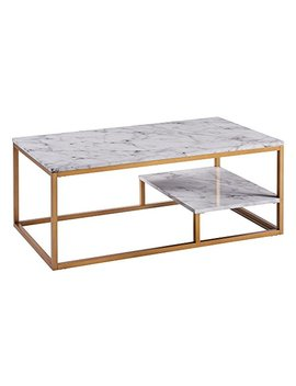 Versanora Vnf 00036 Marmo Coffee Table, Faux Marble/Brass by Versanora