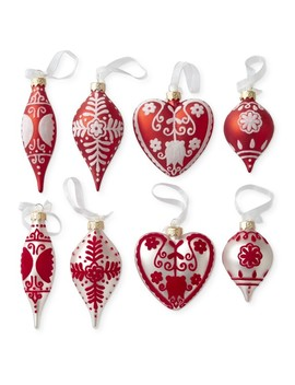 Aerin Hand Flocked Glass Ornaments, Set Of 8 by Williams   Sonoma