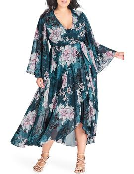 Jade Blossom Wrap Maxi Dress by City Chic