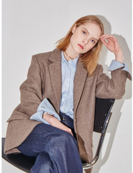 Paris Twon Button Blazer Sand Brown And Baby Blue by And You
