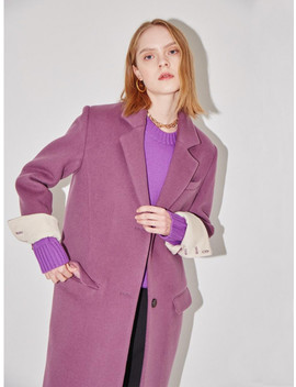 Berlin Oversize Coat Light Purple And Dark Cream by And You